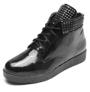 Bota Flatform DAFITI SHOES Verniz Preto DAFITI SHOES
