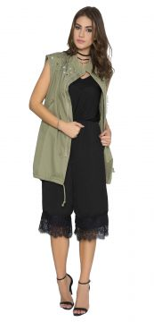 Colete JoFashion Militar Bordado Verde JoFashion