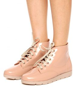 Bota Flatform DAFITI SHOES Verniz Rosa DAFITI SHOES
