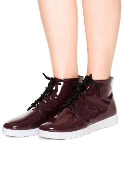 Bota Flatform DAFITI SHOES Verniz Vinho DAFITI SHOES