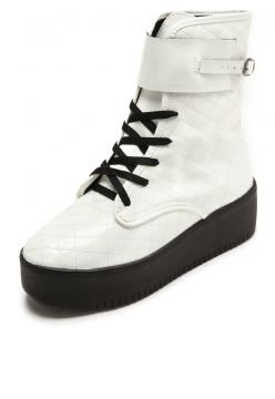 Bota Flatform DAFITI SHOES Verniz Branco DAFITI SHOES