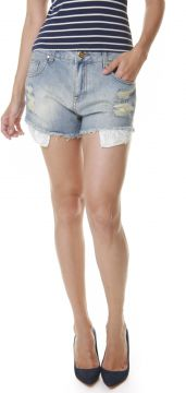 Short Multi Ponto Denim Renda Jeans Multi Ponto Denim