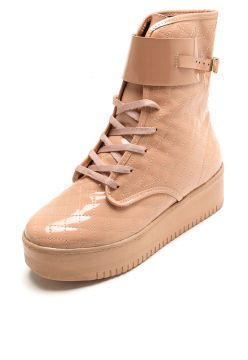 Bota Flatform DAFITI SHOES Verniz Nude DAFITI SHOES