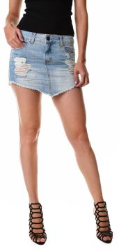 Saia Multi Ponto Denim Destroyed Bico Jeans Multi Ponto Den