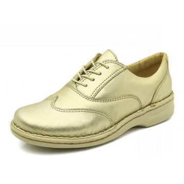 Sapato Doctor Shoes Comfort 365 Metalizado Champagne Doctor