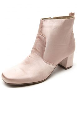 Bota DAFITI SHOES Cano Curto Cetim Nude DAFITI SHOES