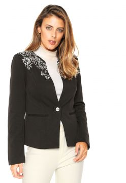 Blazer Facinelli by MOONCITY Bordado Preto Facinelli by MOO