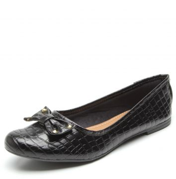 Sapatilha DAFITI SHOES Croco Laço Preto DAFITI SHOES