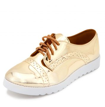 Oxford Flatform DAFITI SHOES Perfuros Dourado DAFITI SHOES