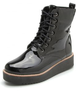 Bota Coturno Flatform DAFITI SHOES Lisa Preta DAFITI SHOES