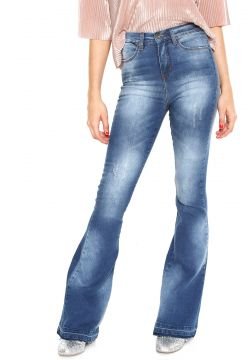 Calça Jeans Guess Flare Recortes Azul Guess
