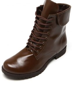 Bota Coturno DAFITI SHOES Lapela Marrom DAFITI SHOES