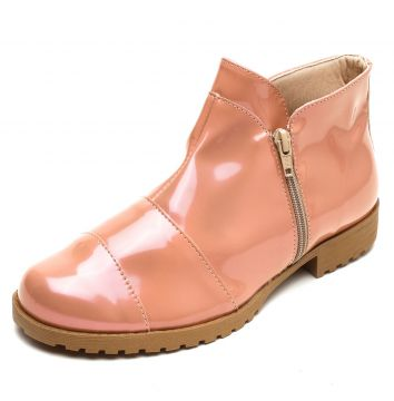 Bota DAFITI SHOES Recortes Zíper Rosa DAFITI SHOES