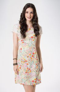 Vestido Mercatto Floral Manga Com Renda Off White Mercatto