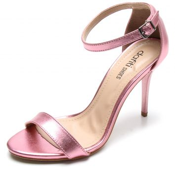 Sandália DAFITI SHOES Metalizada Nudist Rosa DAFITI SHOES