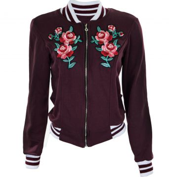 Jaqueta Outlet Dri Colegial Bomber Estampa Floral Bordô Out