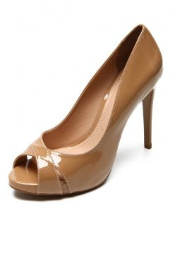 Peep Toe DAFITI SHOES Recorte Cruzado Bege DAFITI SHOES