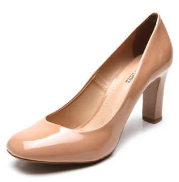 Scarpin DAFITI SHOES Bico Quadrado Nude DAFITI SHOES
