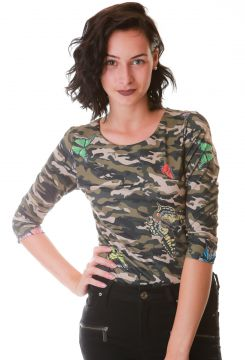 Body Multi Ponto Denim Camuflado Butterfly Estampado Multi