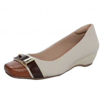Scarpin Laura Prado Confort Off White/Marrom Laura Prado