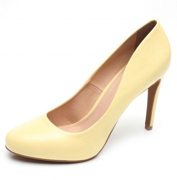 Scarpin DAFITI SHOES Bico Redondo Amarelo DAFITI SHOES