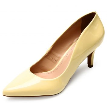 Scarpin DAFITI SHOES Bico Fino Amarelo DAFITI SHOES