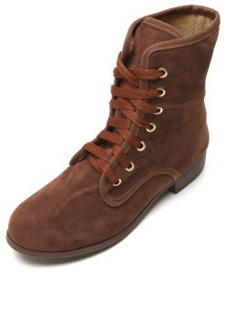 Bota Coturno DAFITI SHOES Bico Redondo Marrom DAFITI SHOES