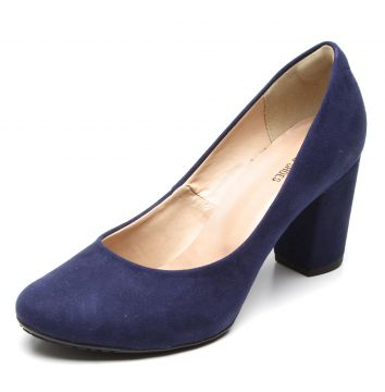 Scarpin DAFITI SHOES Salto Grosso Azul DAFITI SHOES
