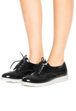 Oxford Flatform DAFITI SHOES Wingtip Preto DAFITI SHOES