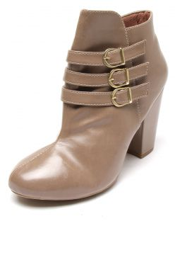 Bota DAFITI SHOES Cano Curto Bege DAFITI SHOES