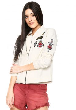 Jaqueta Bomber Sarja Summer Patches Branca Sommer