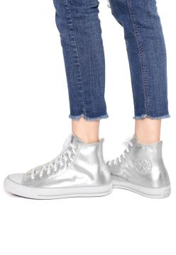 Tênis Couro Converse Ct As Mettalic Leather Hi Prata Conver