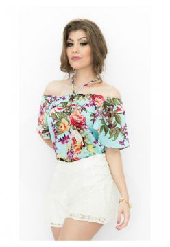 Blusa Miss Lady Viscose Estampa Rosas Miss Lady