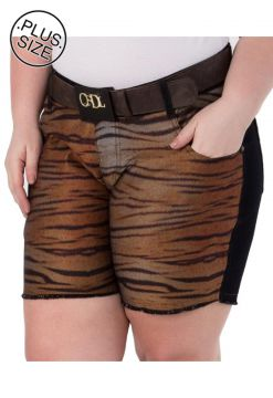Short Jeans Plus Size - Confidencial Extra Animal Print Mu
