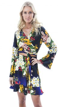 Vestido Curto Lucy In The Sky Manga Sino Tie Dye Floral Luc