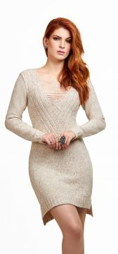 Vestido Daheny Tricot Mousse Mary Bege Daheny Tricot