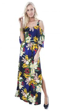 Vestido Longo Lucy In The Sky Tie Dye Bardot Floral Lucy in