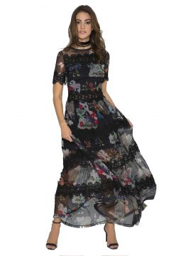 Vestido JoFashion Longo Floral Guipir Preto JoFashion