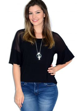 Blusa Up Side Wear Tule Transparente Preta Up Side Wear