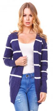 Cardigan Beautifull Hit Branco Marinho Beautifull Hit
