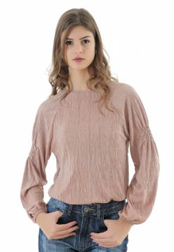 Blusa Unique Chic Lurex Manga Longa Rosa Unique Chic