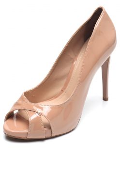 Peep Toe DAFITI SHOES Salto Fino Bege DAFITI SHOES