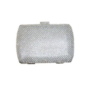Bolsa Real Arte Clutch Strass Quadrada Prata Real Arte