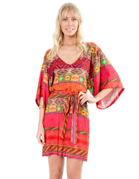 Vestido Curto Lucy In The Sky Kimono Ikat Lucy in The Sky