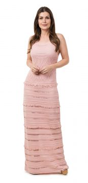 Vestido Pink Tricot Longo Franjas Rosa Claro Pink Tricot