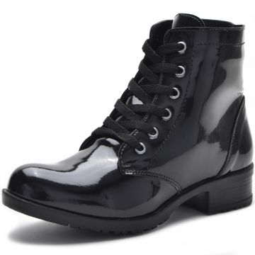 Bota Coturno CR Shoes Verniz Preta CR Shoes