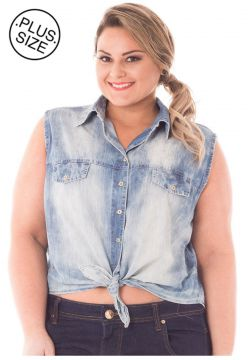 Camisa Jeans Plus Size - Confidencial Extra Cropped com Ama