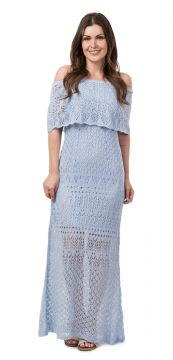 Vestido Pink Tricot Longo Ombro a Ombro Azul Pink Tricot