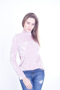 Blusa Gup  s Jeans Gola Veludo Rosa Gup  s Jeans