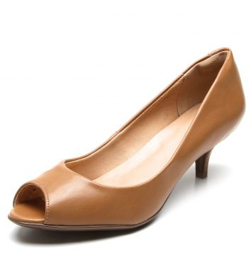 Peep Toe Thelure Liso Caramelo Thelure